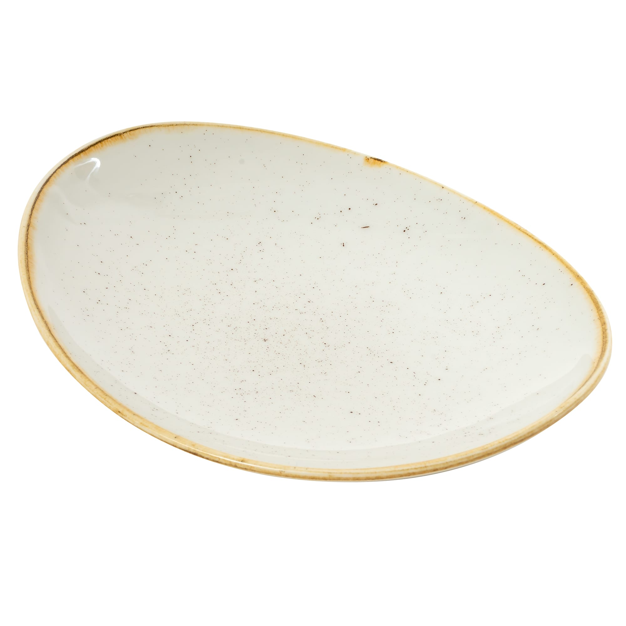 "Churchill SWHSOP71 7.75"" Oval Stonecast Plate - Ceramic, Barley White"
