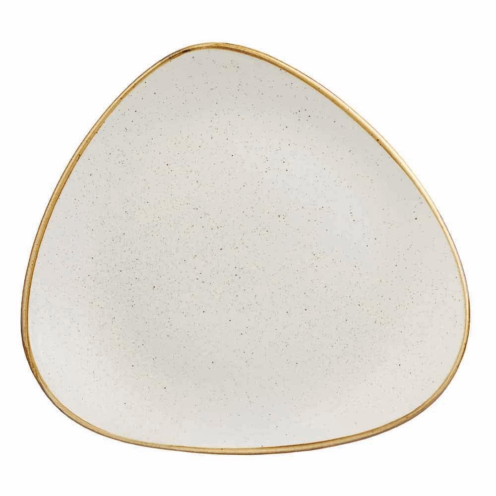 "Churchill SWHSTR101 10.5"" Triangular Stonecast Plate - Ceramic, Barley White"