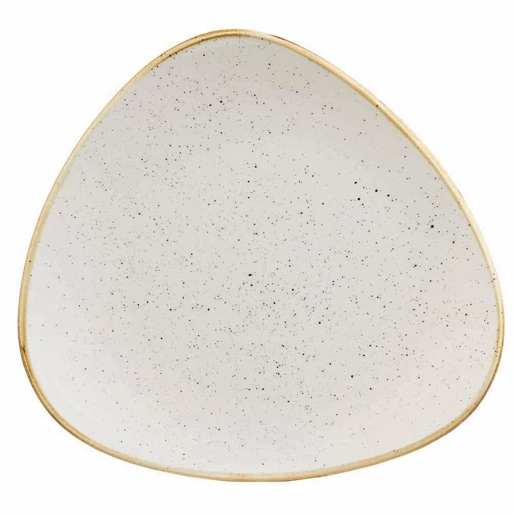 "Churchill SWHSTR71 7.75"" Triangular Stonecast Plate - Ceramic, Barley White"