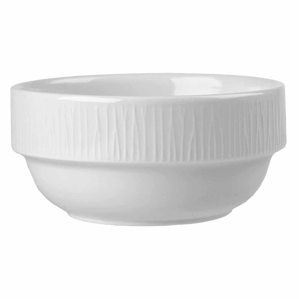 Churchill WHBALB101 10-oz Bamboo Bowl - Ceramic, White