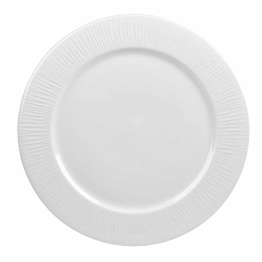 "Churchill WHBALP121 12"" Round Bamboo Presentation Plate - Ceramic, White"