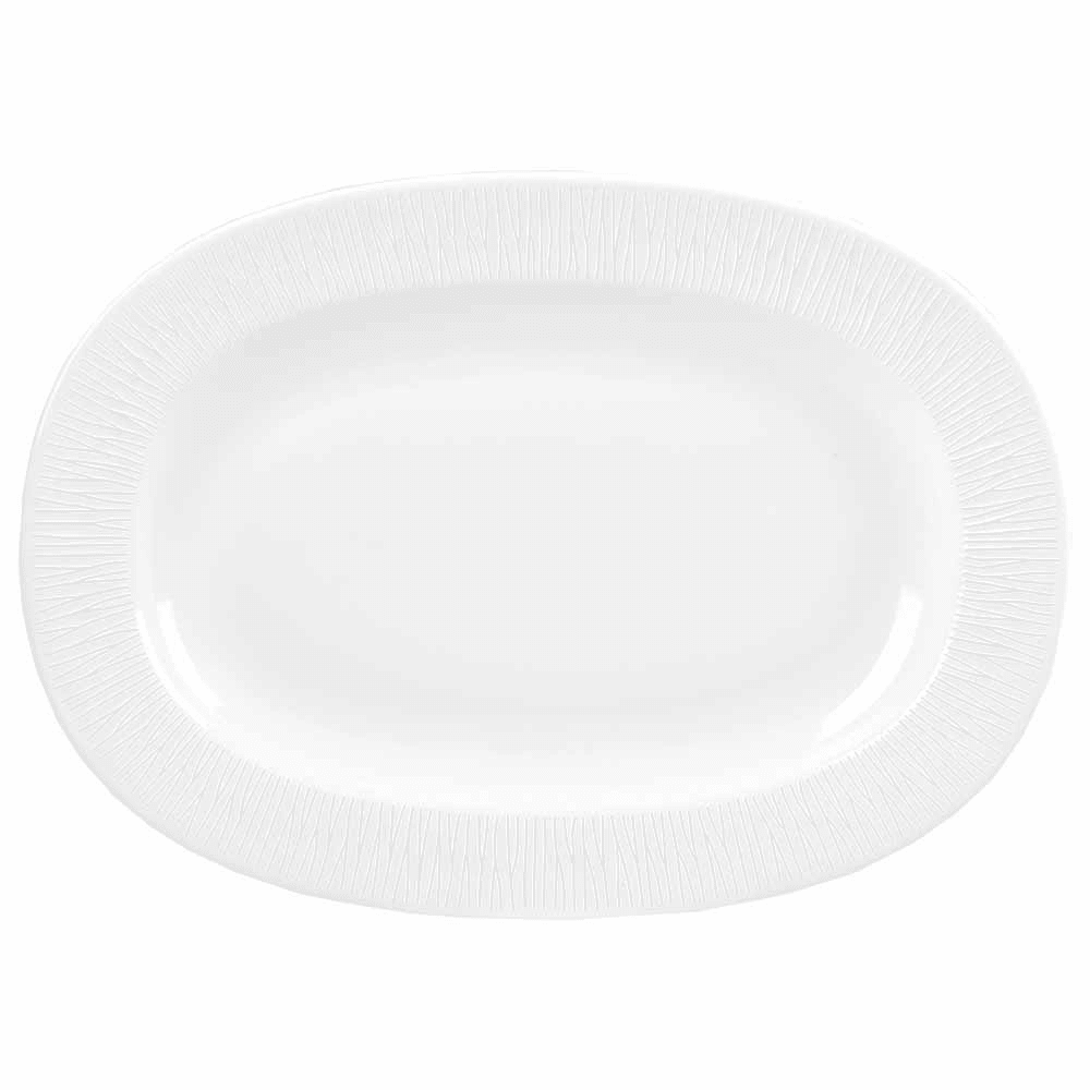 "Churchill WHBALR111 11"" Oval Bamboo Plate - Ceramic, White"