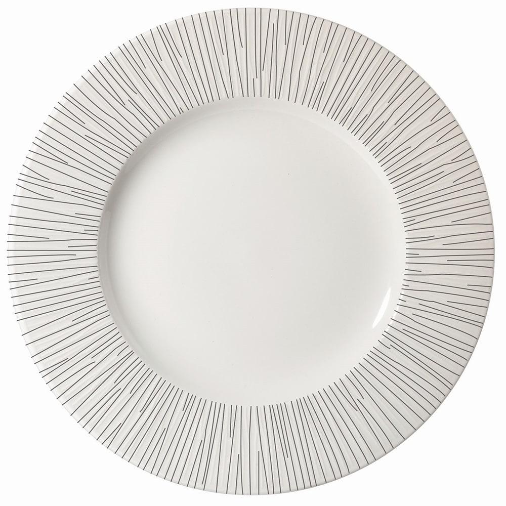 """Churchill WHBALW581 10-5/8"""" Round Bamboo Plate - Ceramic, White"""