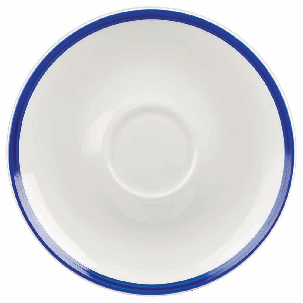 "Churchill WHBBBS61 6.25"" Retro Blue Saucer - Ceramic, White w/ Blue Rim"
