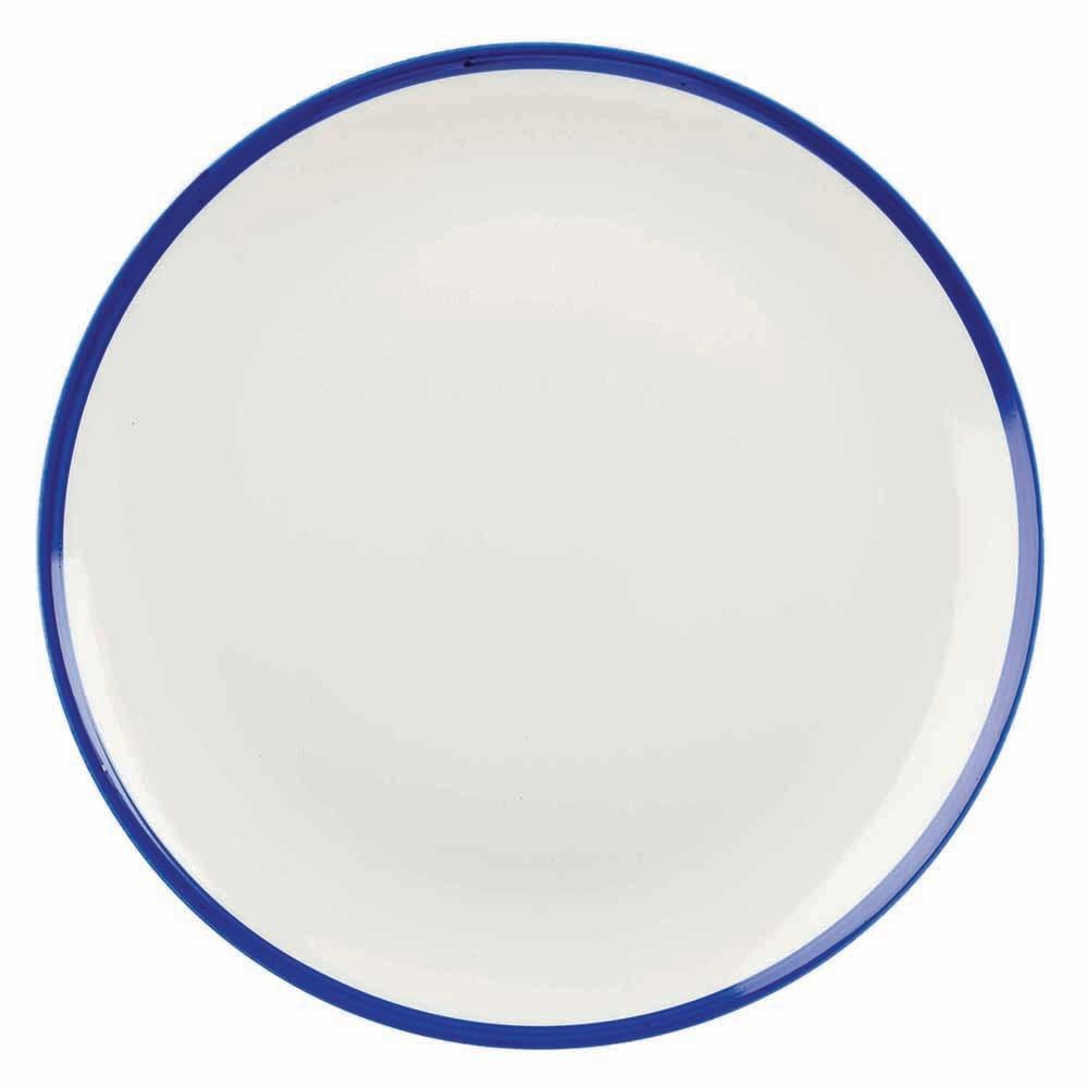 "Churchill WHBBEV111 11.25"" Round Retro Blue Plate - Ceramic, White w/ Blue Rim"