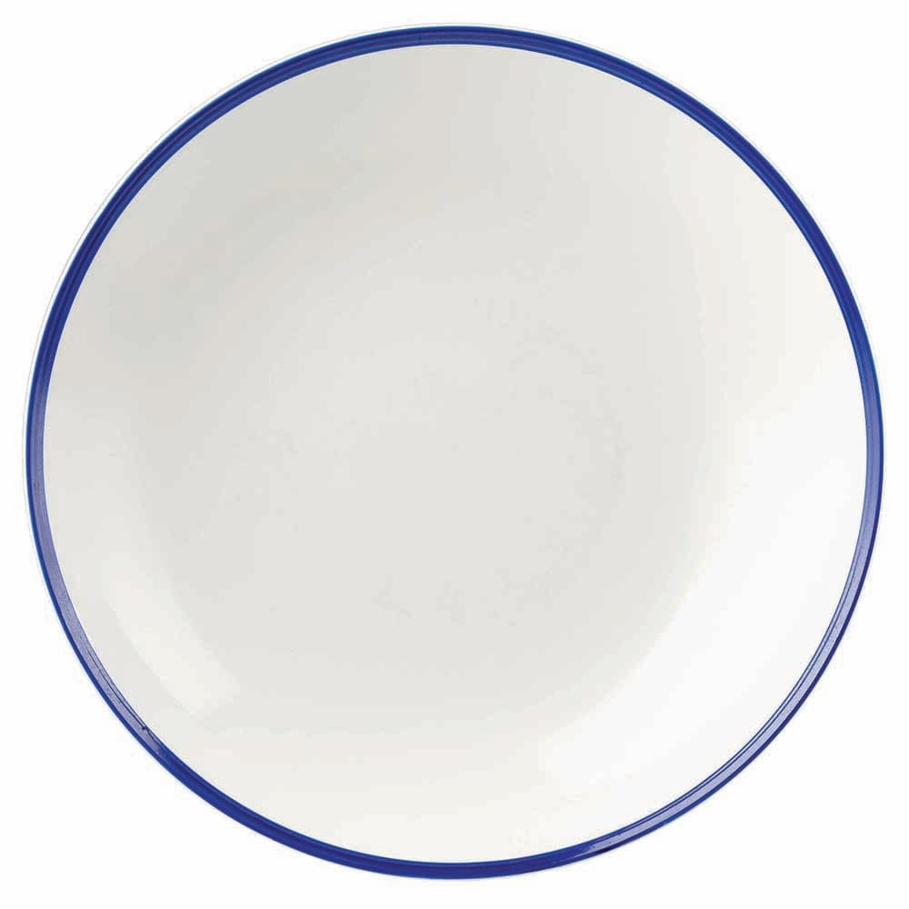 Churchill WHBBEVB71 15-oz Retro Blue Bowl - Ceramic, White w/ Blue Rim