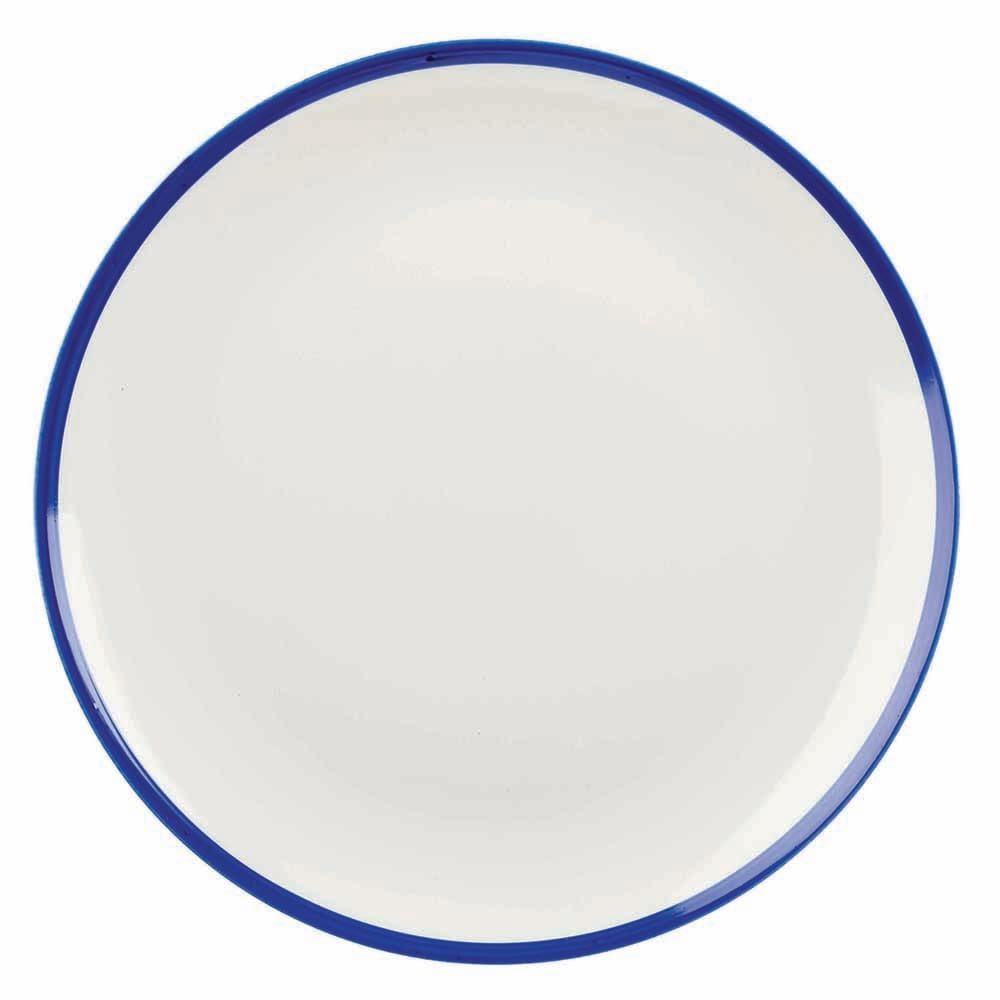 "Churchill WHBBEVP81 8.67"" Round Retro Blue Plate - Ceramic, White w/ Blue Rim"