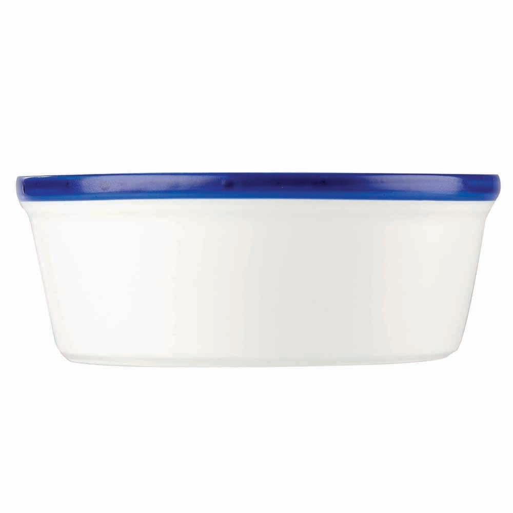Churchill WHBBLRKN1 6.9-oz Retro Blue Ramekin - Ceramic, White w/ Blue Rim