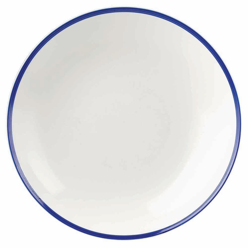 Churchill WHBBPLC21 84.5-oz Retro Blue Bowl - Ceramic, White w/ Blue Rim