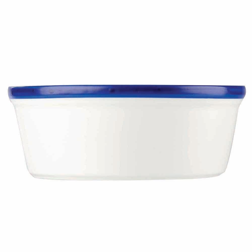 "Churchill WHBBRPDN1 5.25"" Round Retro Blue Pie Dish - Ceramic, White w/ Blue Rim"
