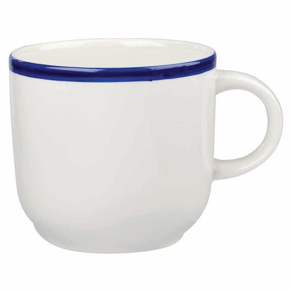 Churchill WHBBSC101 10-oz Retro Blue Cup - Ceramic, White w/ Blue Rim
