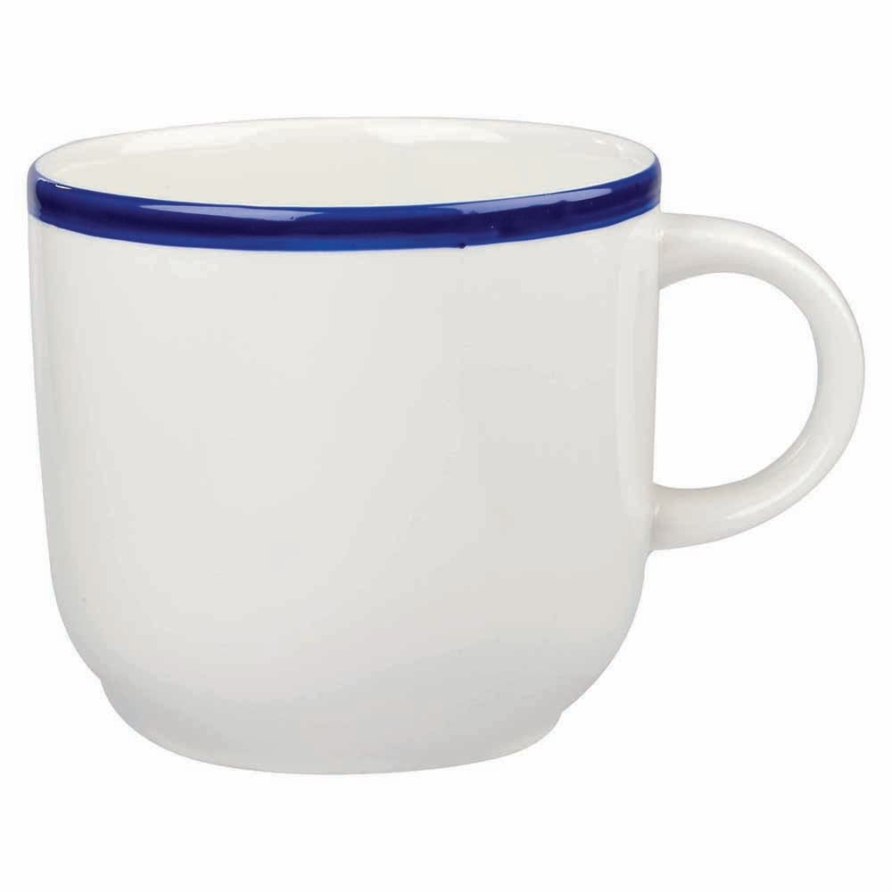 Churchill WHBBSC81 8-oz Retro Blue Cup - Ceramic, White w/ Blue Rim