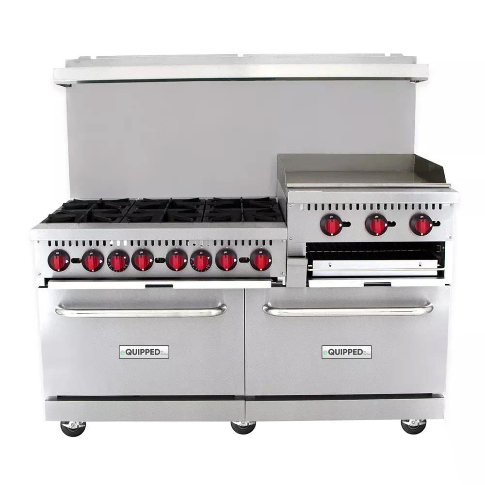 "eQuipped R10-RGB24 60"" 6 Burner Gas Range w/ Raised Griddle Broiler, NG"