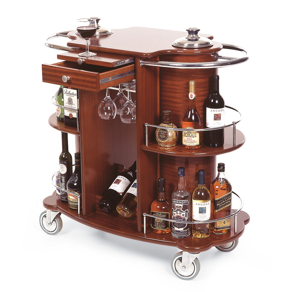Geneva 70260 Oval Wine Liquor Cart w/ Recessed Ice Buckets & 2 Shelves