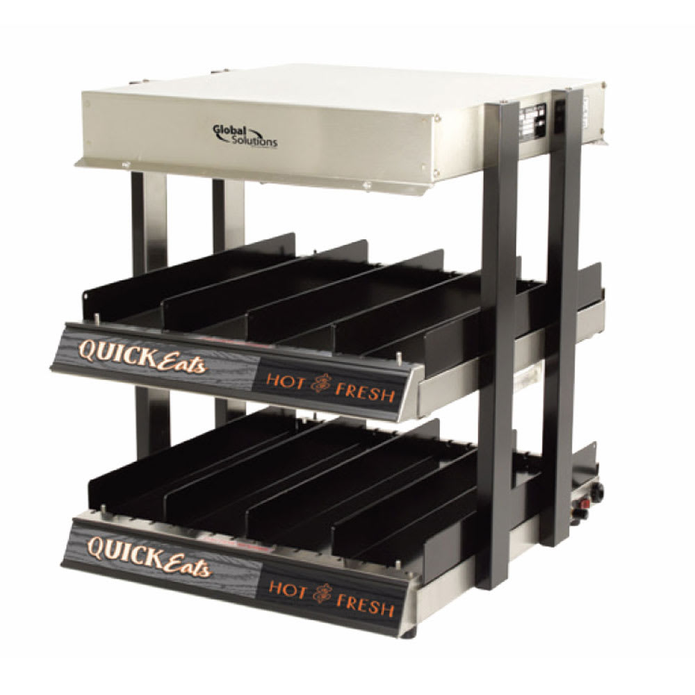 "Global Solutions GS1300-16 18"" Self-Service Countertop Heated Display Shelf - (2) Shelves, 120v"