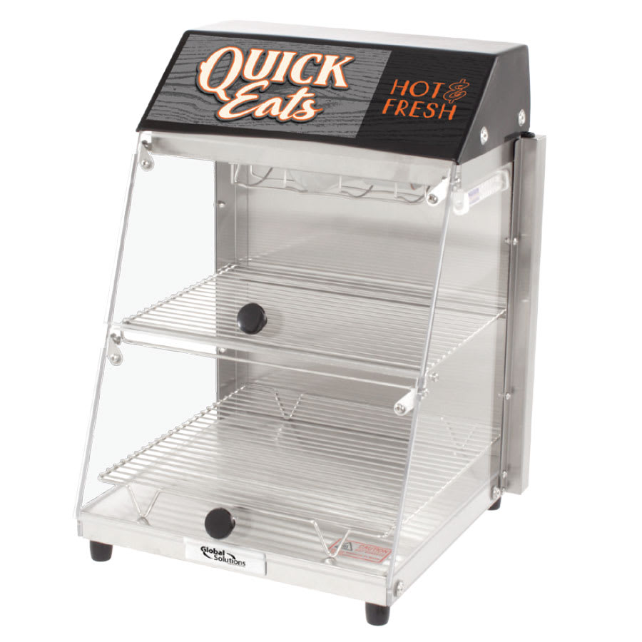 "Global Solutions GS1405 12.25"" Self-Service Countertop Heated Display Case - (2) Shelves, 120v"