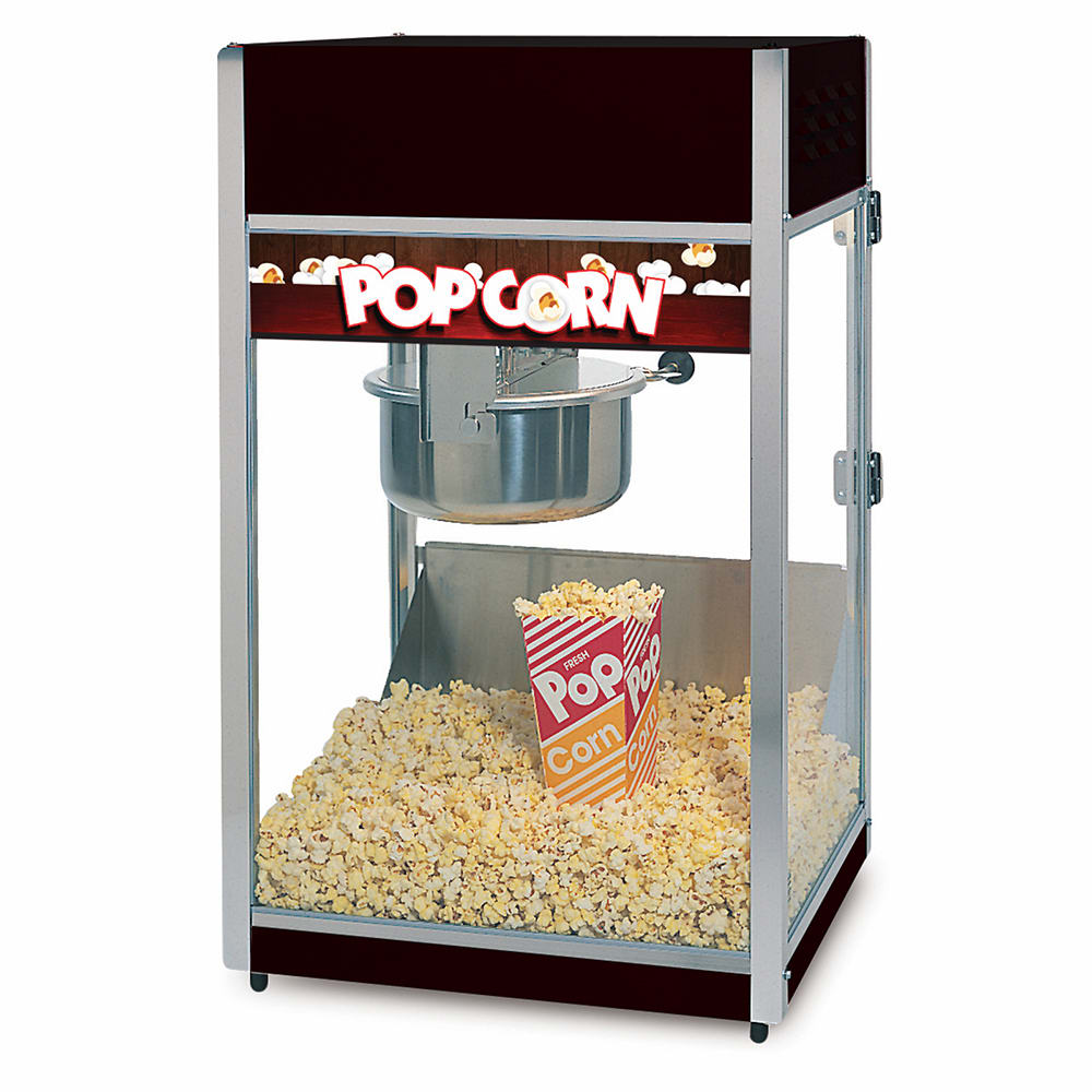 Global Solutions GS1508 Popcorn Machine w/ 8 oz Kettle - Stainless Steel w/ Black Finish, 120v
