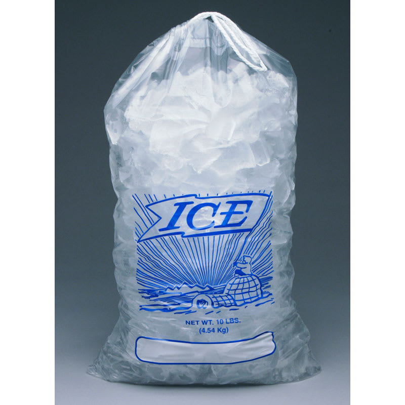 "Elkay Plastics H19PDS 10-lb Printed Ice Bag w/ Drawstring Closure - 19"" x 12"", Poly/Metallocene"