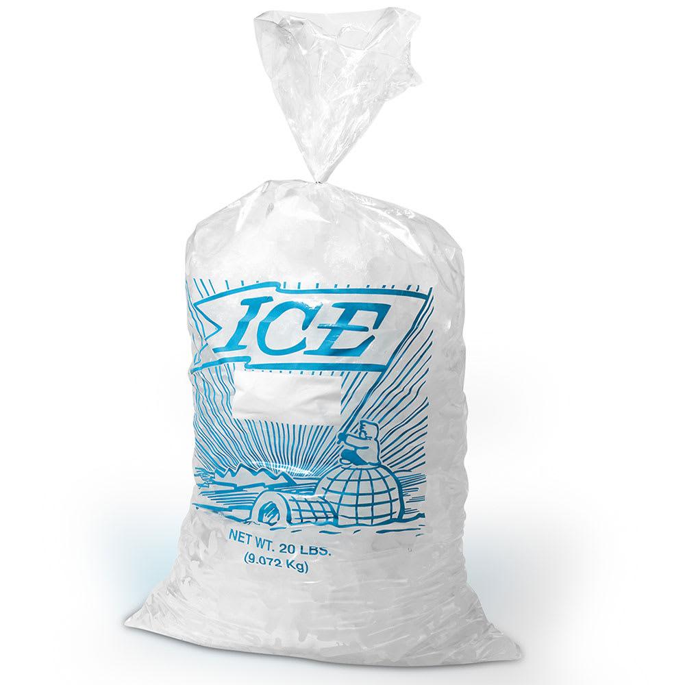 "Elkay Plastics H28PMET 20 lb Printed Ice Bag - 28"" x 13.5"", Poly/Metallocene"