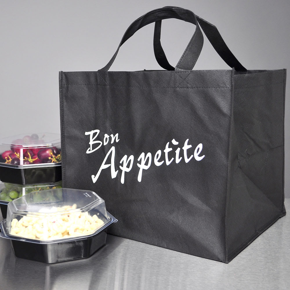 Elkay Plastics Nw221415 Non Woven Catering Take Out Bag 22 X 14 15 25 Poly Black
