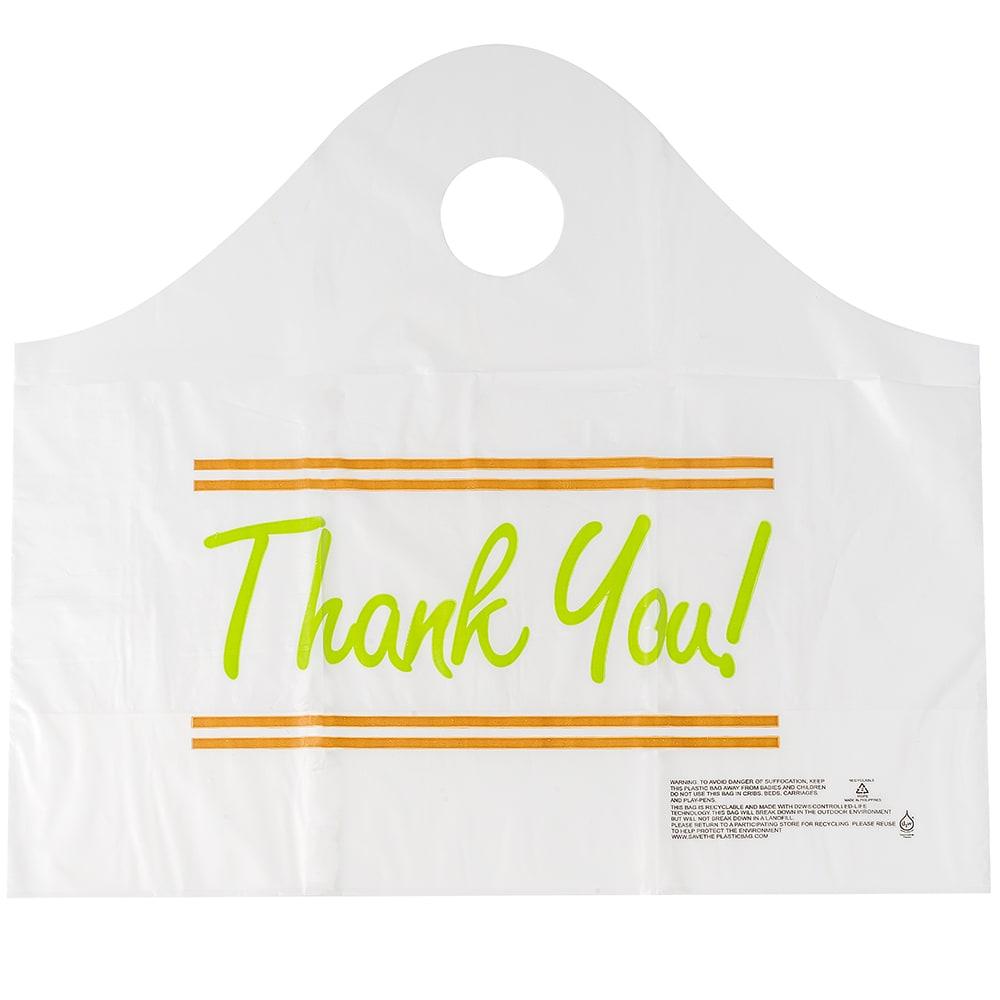 "Elkay Plastics TO165146TY Printed Poly Take-Out Bag w/ Handles - 16.5"" x 14"" x 6"", White"