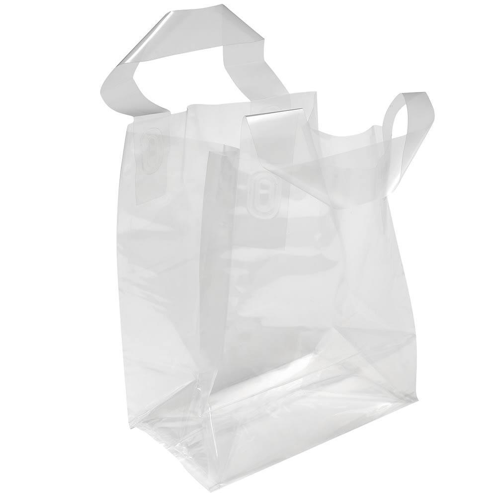 """Elkay Plastics TO6484 Poly Take-Out Bag w/ Handles - 8.5"""" x 6.75"""" x 4.75"""", Clear"""