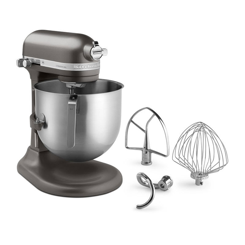 KitchenAid Commercial KSM8990DP 10 Speed Stand Mixer w/ 8 qt Stainless Bowl & Accessories, Dark Pewter
