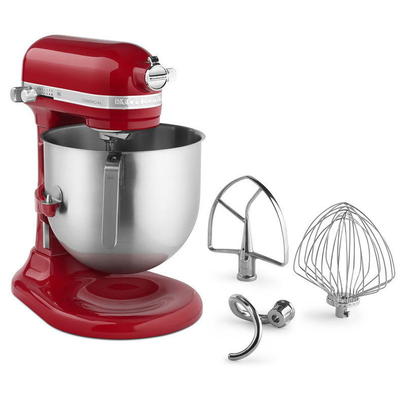 KitchenAid Commercial KSM8990ER 10 Speed Stand Mixer w/ 8 qt Stainless Bowl & Accessories, Empire Red