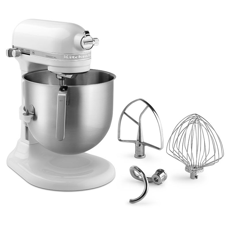 KitchenAid Commercial KSM8990WH 10 Speed Stand Mixer w/ 8 qt Stainless Bowl & Accessories, White