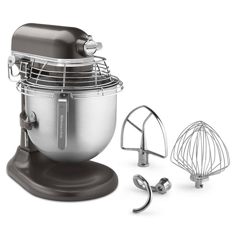 KitchenAid Commercial KSMC895DP 10-Speed Bowl-Lift Stand Mixer w/ 8-qt Stainless Bowl & Accessories, Dark Pewter
