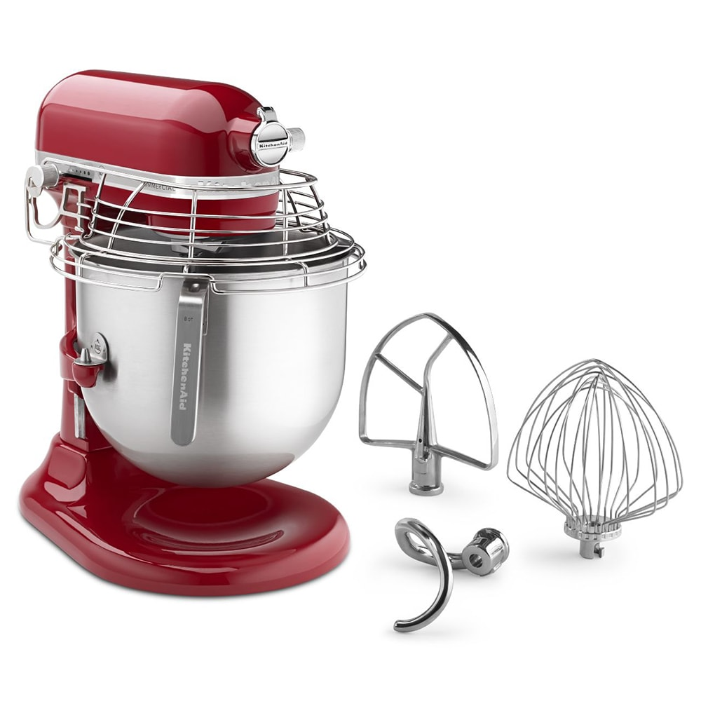 KitchenAid Commercial KSMC895ER 10 Speed Bowl Lift Stand Mixer W/ 8 Qt  Stainless Bowl U0026 Accessories, Empire Red