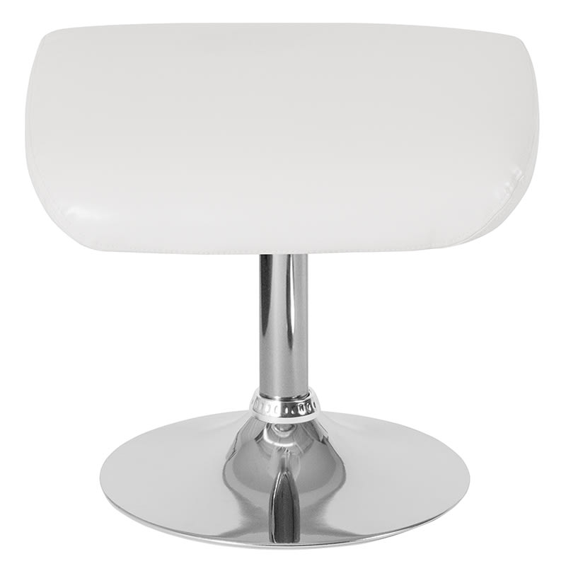 Enjoyable Flash Furniture Ch 162430 O Wh Lea Gg Ottoman W Round Chrome Base 19 5W X 15D X 17 5H White Leather Beatyapartments Chair Design Images Beatyapartmentscom
