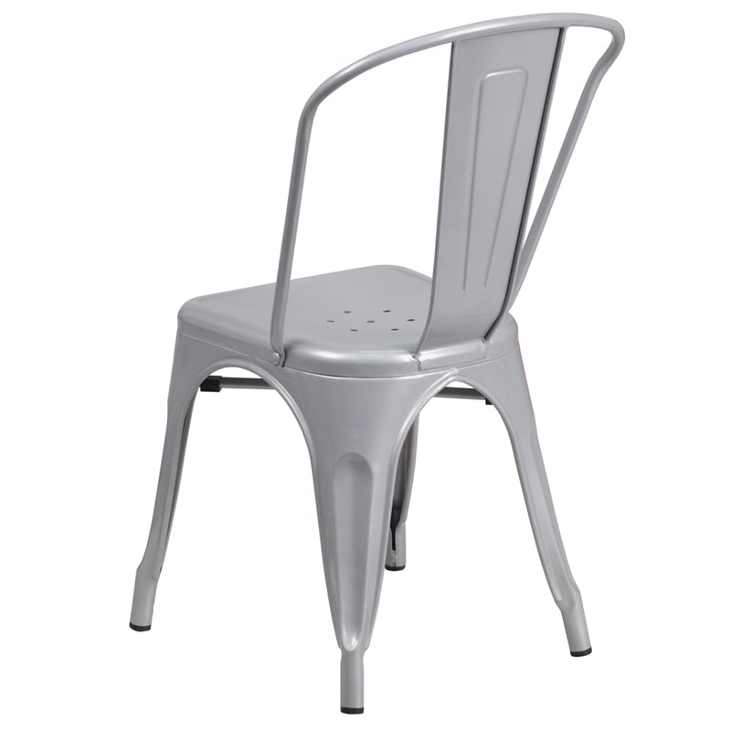 "Flash Furniture CH-31230-SIL-GG 33"" Stacking Bistro Chair w/ Vertical Slat Back - Steel, Silver"
