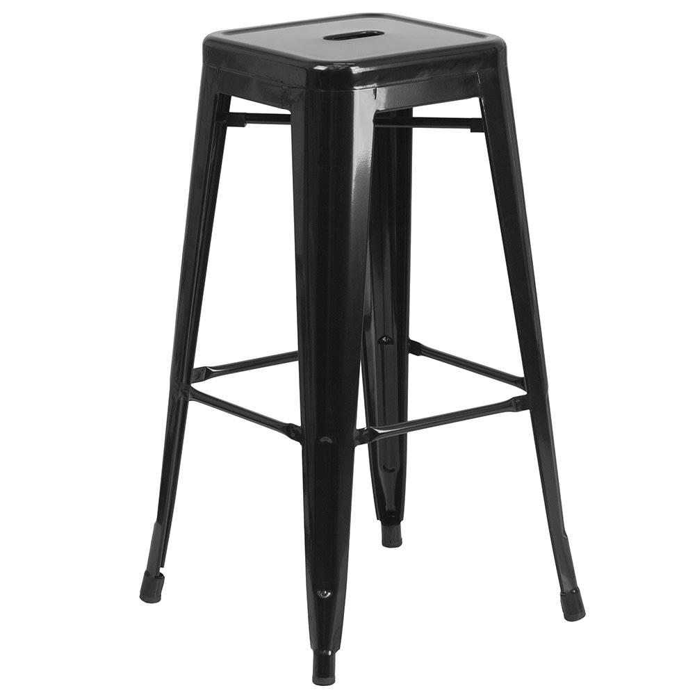 "Flash Furniture CH-31320-30-BK-GG 30"" Stackable Backless Modern Stool - Steel, Black"