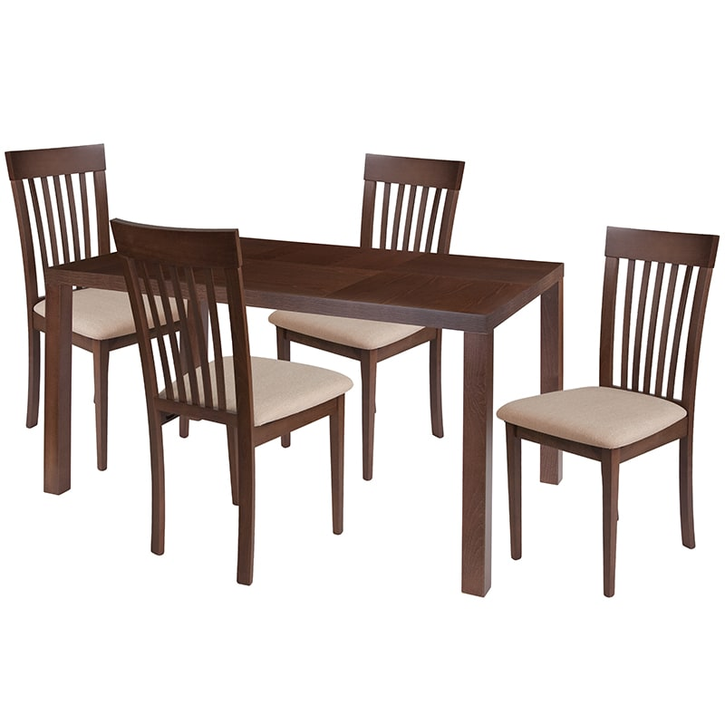 Phenomenal Flash Furniture Es 55 Gg 5 Piece Eastchester Wood Dining Table Set W Beech Veneer Top Beige Walnut Beechwood Frankydiablos Diy Chair Ideas Frankydiabloscom
