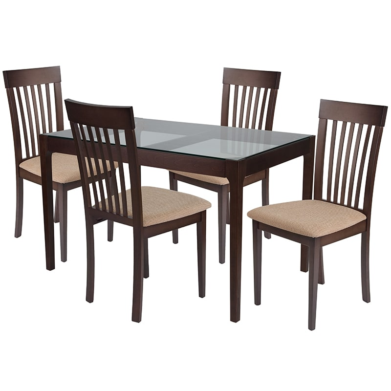 Brilliant Flash Furniture Es 97 Gg 5 Piece Clayton Wood Dining Table Set W Glass Top Brown Espresso Beechwood Download Free Architecture Designs Scobabritishbridgeorg