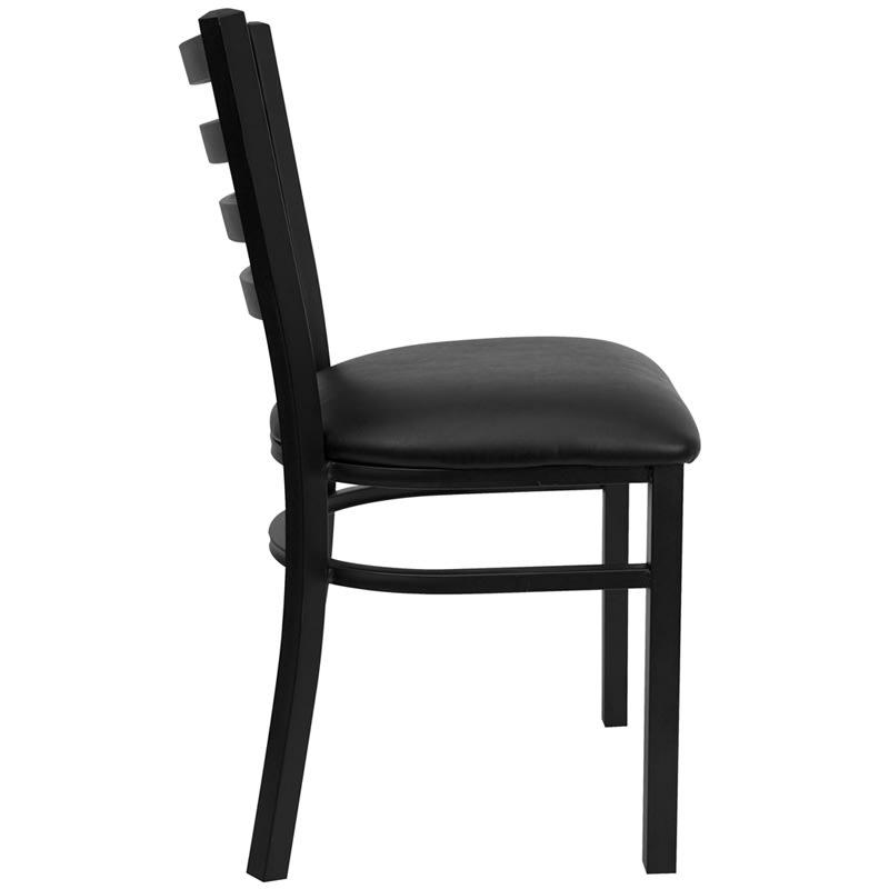 Flash Furniture XU-DG694BLAD-BLKV-GG Hercules Restaurant Chair w/ Ladder Back - Steel, Black