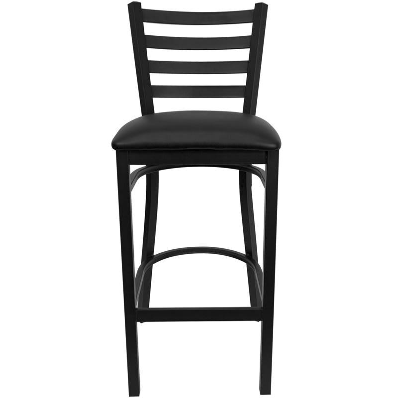 "Flash Furniture XU-DG697BLAD-BAR-BLKV-GG 42.25"" Hercules Barstool w/ Ladder Back - Steel, Black"