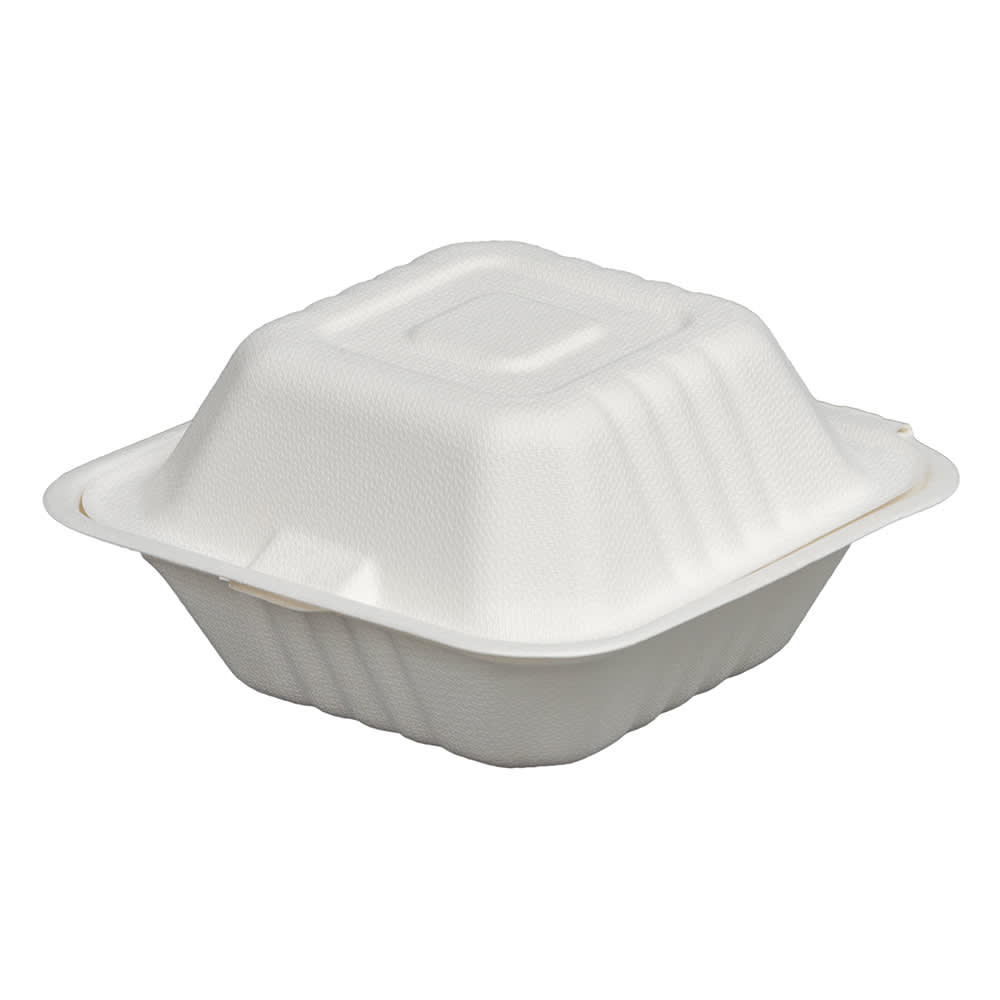 """Fineline 42SH6 Disposable Hinged Container - 6""""L x 6""""W x 3.1""""H, Bagasse, White"""