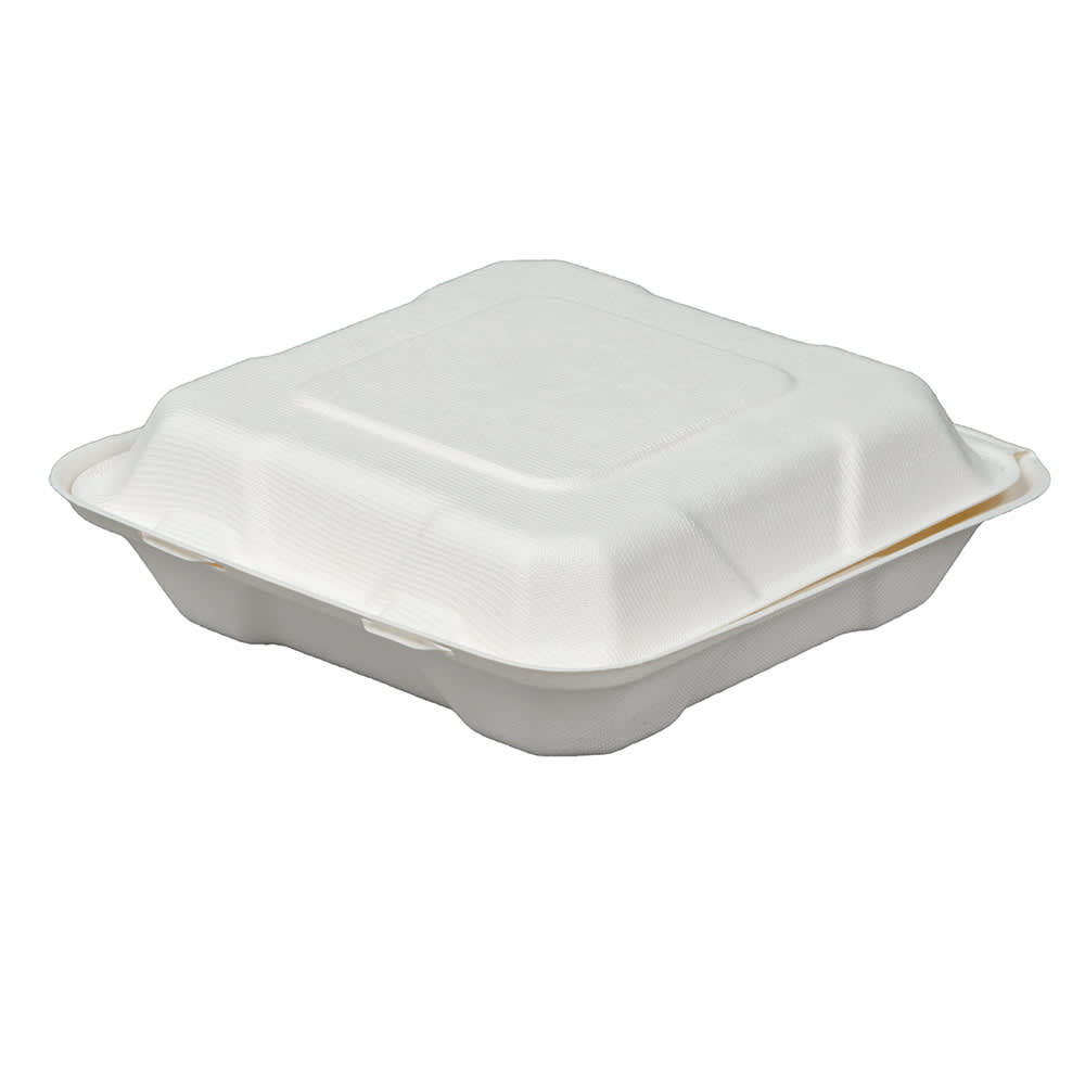 "Fineline 42SH8 Disposable Hinged Container - 8""L x 8""W x 2.5""H, Bagasse, White"