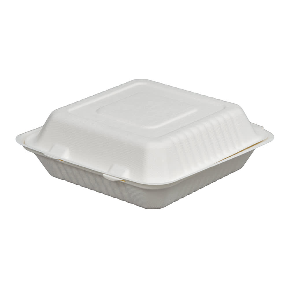 """Fineline 42SHD9 Disposable Hinged Container - 9""""L x 9""""W x 3.1""""H, Bagasse, White"""
