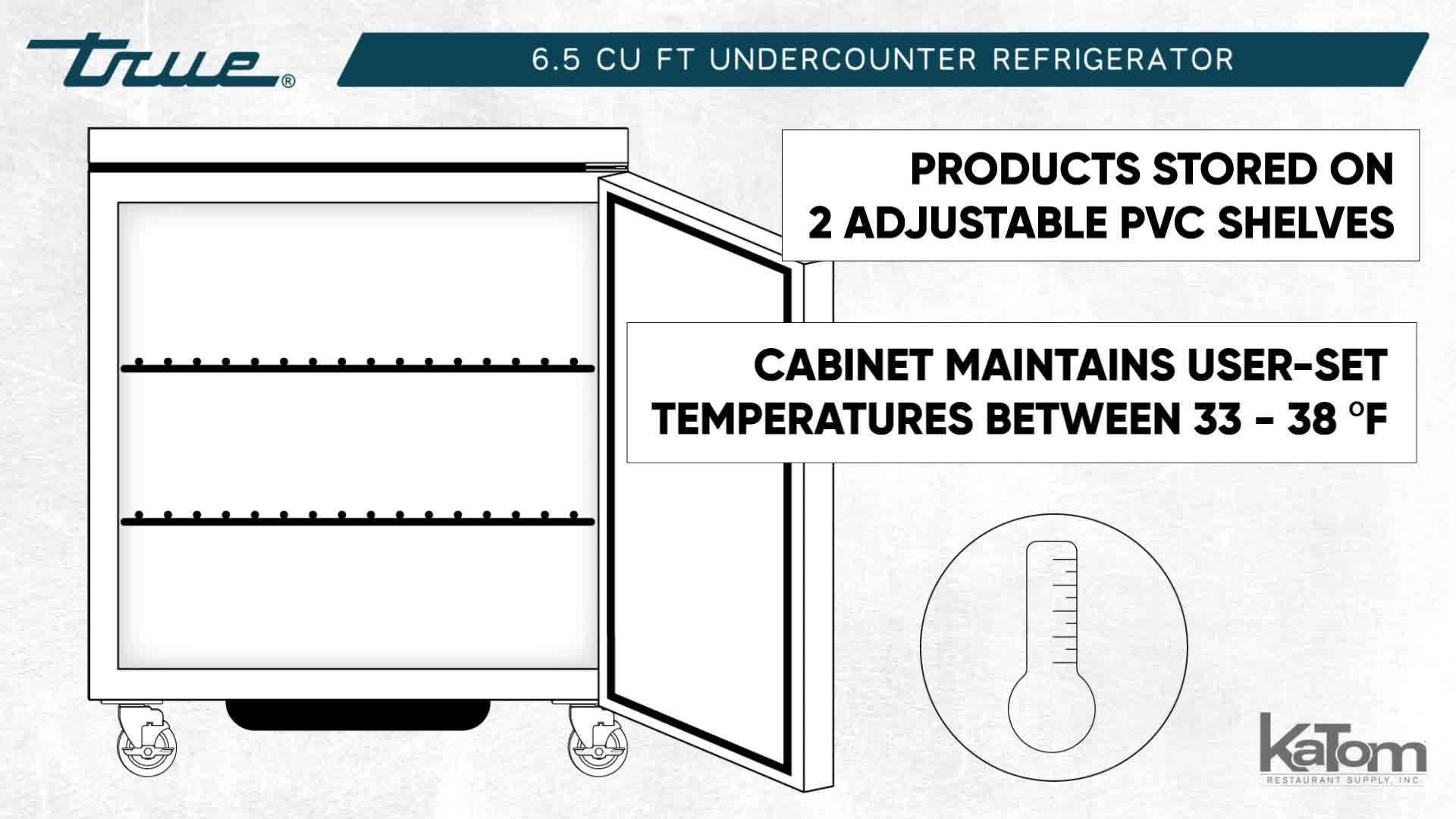 true tuc-27-hc 6 5 cu ft undercounter refrigerator w/ (1) section & (1)  right hinge door, 115v
